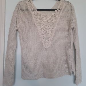 Sweaters - Knit Floral V Neck Sweater